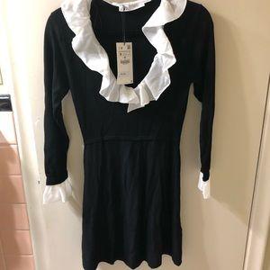 Zara V Neck Knit Ruffle Dress, M